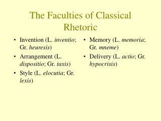 The Faculties of Classical Rhetoric