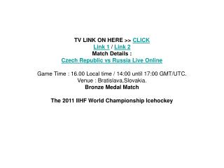 watch iihf bronze medal czech republic vs russia live stream