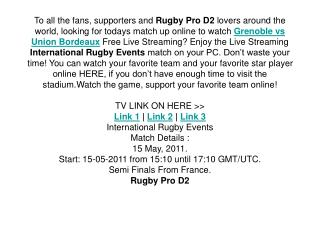 semi final grenoble vs union bordeaux live and exclusive rug