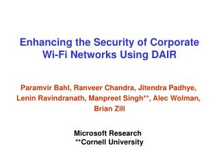 Enhancing the Security of Corporate Wi-Fi Networks Using DAIR