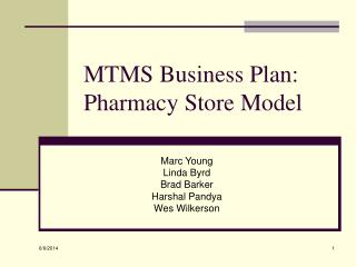 MTMS Business Plan: Pharmacy Store Model
