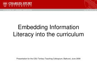 Embedding Information Literacy into the curriculum