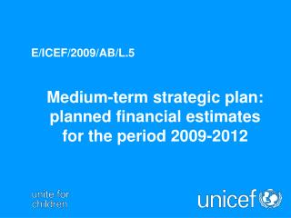Medium-term strategic plan: planned financial estimates for the period 2009-2012