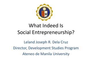 What Indeed Is  Social Entrepreneurship