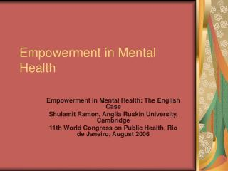 Empowerment in Mental Health