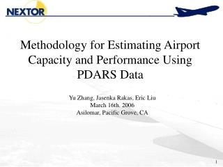 Methodology for Estimating Airport Capacity and Performance Using PDARS Data