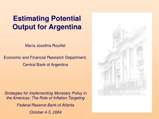 Estimating Potential Output for Argentina
