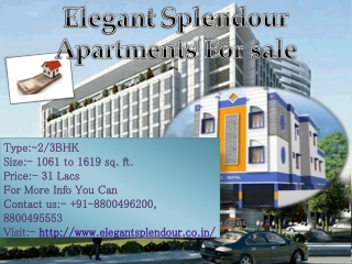 Get Best Elegant splendor Apartments in Greater Noida