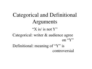Categorical and Definitional Arguments