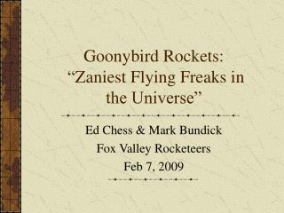 "Goonybird Rockets:  "" Zaniest Flying Freaks in the Universe"""