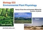 Biology 633 Environmental Plant Physiology