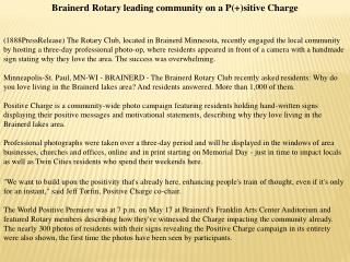 brainerd rotary leading community on a p(+)sitive charge
