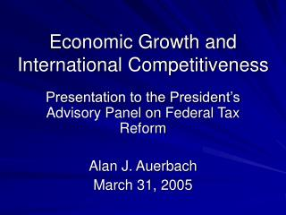 Economic Growth and International Competitiveness