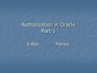 Authorization in Oracle Part 1