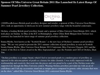 sponsor of miss universe great britain 2011 has launched its