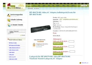 Akku HP 484170-001 |484170-001 | Ersatz hp 484170-001 akkus