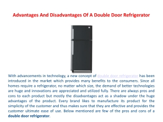 Advantages And Disadvantages Of A Double Door Refrigerator