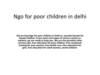 Ngo for poor children in delhi