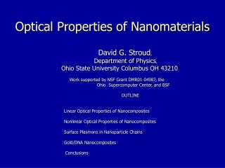 Optical Properties of Nanomaterials