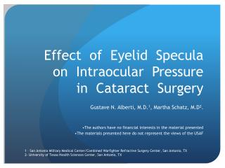 Effect  of  Eyelid  Specula on  Intraocular  Pressure  in  Cataract  Surgery
