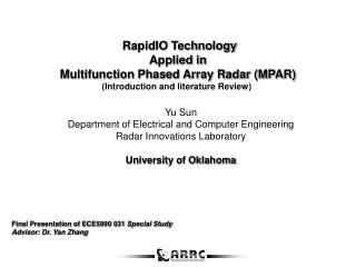 RapidIO Technology  Applied in  Multifunction Phased Array Radar (MPAR) (Introduction and literature Review)