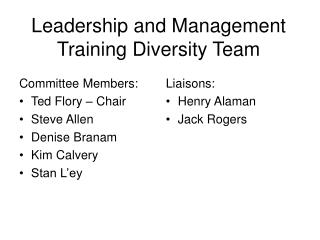 Leadership and Management Training Diversity Team