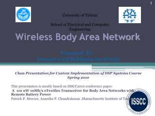 Wireless Body Area Network