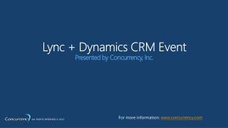 Lync + Dynamics CRM Event
