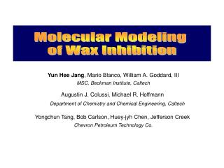 Molecular Modeling  of Wax Inhibition