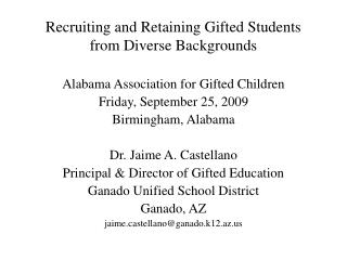 Recruiting and Retaining Gifted Students from Diverse Backgrounds