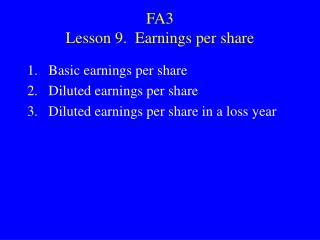 FA3 Lesson 9. Earnings per share