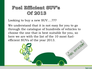 Fuel Efficient SUV's Of 2013