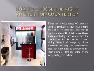 How to Choose the Right Kitchen TopCountertop