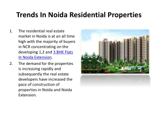 Features Of Noida Residential Properties