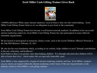 scott miller cash gifting trainer gives back