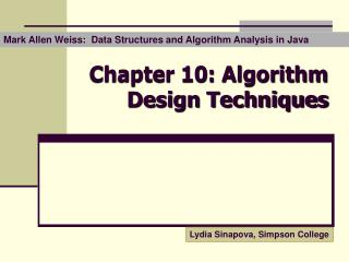 Chapter 10: Algorithm Design Techniques