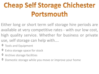 Storage chichester
