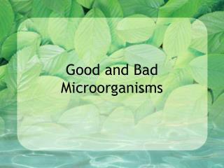 Good and Bad Microorganisms