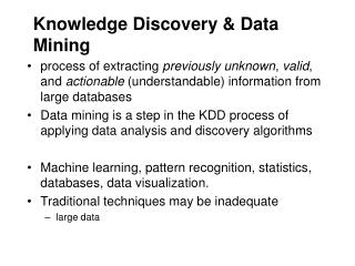 Knowledge Discovery & Data Mining