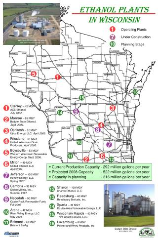 ETHANOL PLANTS  IN WISCONSIN