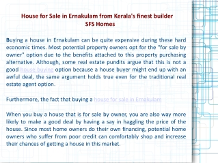 House for Sale in Ernakulam from Kerala's finest builder SFS