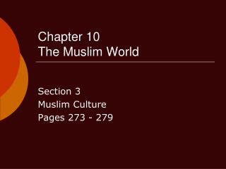 Chapter 10 The Muslim World
