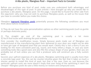 A Abs plastic, fiberglass Pool -- Important Facts to Conside