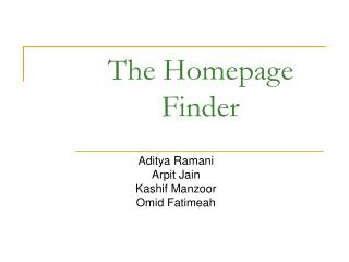 The Homepage Finder