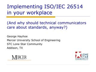 Implementing ISO/IEC 26514  in your workplace