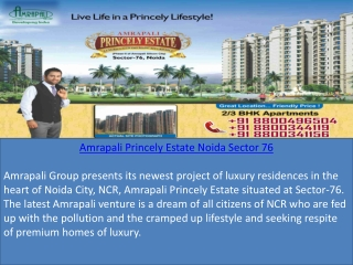 Amrapali Princely Estate Apartments in Noida 8800496504