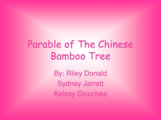 Parable of The Chinese Bamboo Tree