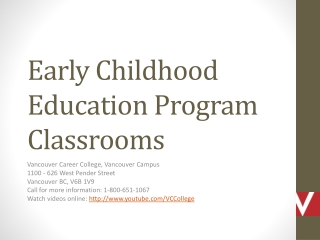 Early Childhood Education Classrooms in Downtown Vancouver