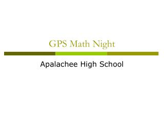 GPS Math Night