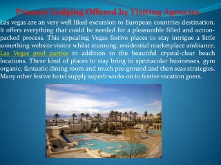 Primary Lodging Offered by Visiting Agencies